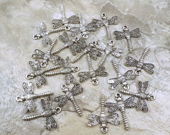Twenty (20) Pewter Dragonfly Charms - Free Shipping in the US - 0932