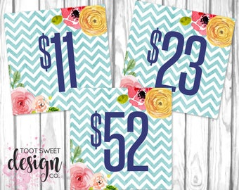 Piphany Pricing Cards, Piphany Price Card 5x5, Social Media Facebook Album Covers Signs, Blue Chevron Floral Price Tag, INSTANT DOWNLOAD