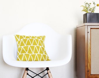 SALE - Jungle Gold Triangles - Linen Pillow - 13 x 13 in.