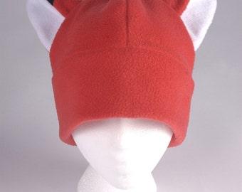 Fox Ear Hat - Red Fleece Hat by Ningen Headwear