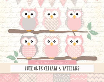 Patterned Soft Pink Owls Clipart and Digital Papers - Soft Pink Owl Clipart, Owl Vectors, Baby Owls, Cute Owls, Baby Girl Owls