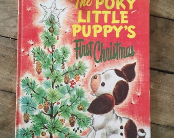 1970s christmas book - puppy book - kitsch dog book - The poky little puppy - first christmas book - children's christmas