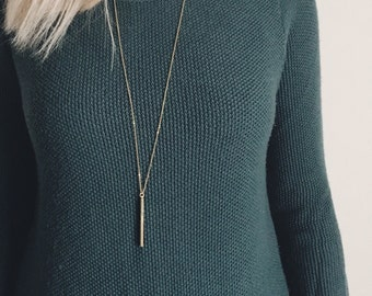 Long Gold Bar Necklace / Gold Long Bar Necklace / Dainty Layering Bar Necklace / Minimalist Necklace / Simple Necklace / Bridesmaid Necklace