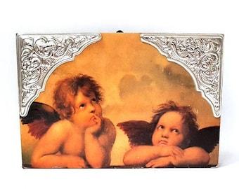 SALE Vintage Italian Silver and Wood Plaque with Cherubs , Cherubs wall hanging Decor Plaque Little Angels by Raffaello Florentine Tole
