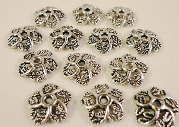 Silver Bead Caps 11mm Antique Silver Metal Leaf Bead Caps Beadcaps Jewelry Making Jewelry Findings Craft Supplies Fits 10-12mm Beads 30pcs