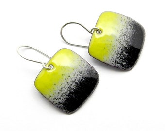 Yellow and Black Dangle Earrings - Modern Enamel Jewelry - Sterling Silver - Birthday Gift for Women