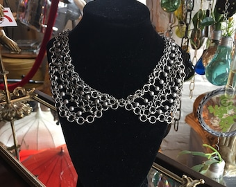 Vintage Silver Chain Mail Necklace Adjustable Length