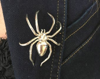 Spider Brooch - Spider Pin - 925 Sterling Silver Pin -Jewelry  Handmade--Men/Womens.