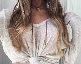Gold Stone Layered Leather Choker Necklace