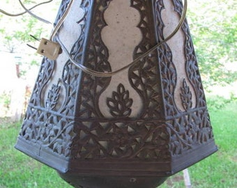 Reserved jbarta Vintage 1960's Moroccan Lantern rustic metal unique Hanging Brass Lamp, Decorative Lighting, Ornate, Retro Moorish Accent Spanish French Colonial Decor Kasbah Style, Morocco African Arab Mosque North Africa  Western Sahara