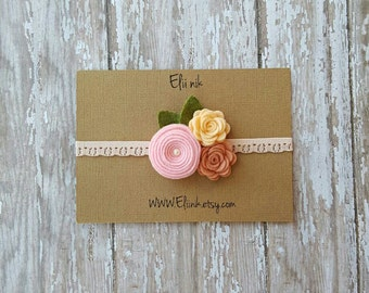 Baby headband, pink-pink grapefruit and peach garland headband, Newborn headband, lace headband, baby flower headband, pink flower headband