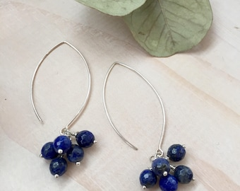 Faceted Blue Lapis Lazuli and Sterling Silver Cluster Earrings
