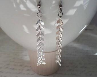 Chevron chain silver or gold earrings