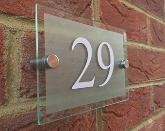 Modern House Numbers glass acrylic house sign door number plaque