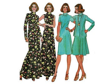 Easy to Sew Dress and Jacket for Knits 1970s UNCUT Sewing Pattern Maxi or Knee Length Size 8 Bust 31 1/2 McCalls 4795