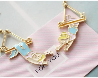 Swinging Kids Blue & Pink Earrings -- Forever Young!!