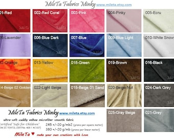 Minky fabric, ultra soft cuddly velboa microfiber smooth fabric, 22 colors to your choice.