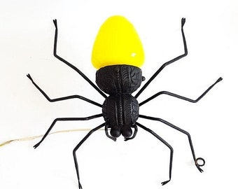 SALE Vintage Italian Spider Lamp Wall Light  Mid-Century Modern Spider wall sconce , Yellow and Black Wrought Iron design lamp