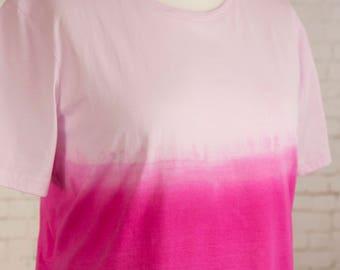 Womens pastel grunge tshirt, pink ombre,  tie dye dip dyed gradient, pastel goth t shirt, hippie clothes, bohemian festival t-shirt size 2XL