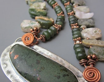 Copper and Jade Metal Smith Pendant Necklace