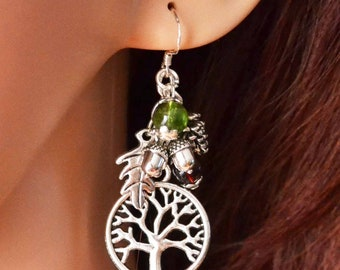 Tree of Life Autumn Forest Charm Earrings on .925 Sterling Silver Hooks with Oak Leaves, Acorns, and Pine Cones  for Pagan, Druid, Wiccan