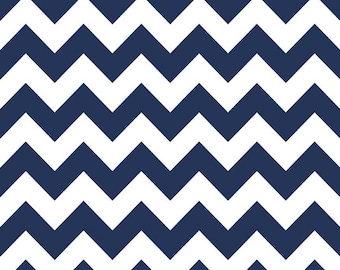 Navy Blue Fabric - Medium Chevron Fabric - Riley Blake Basics Cotton Chevron Printed Fabric Quilting Cotton c320 21 - Navy Cotton Fabric