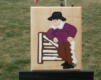Cowboy leaning on fence  Plaque