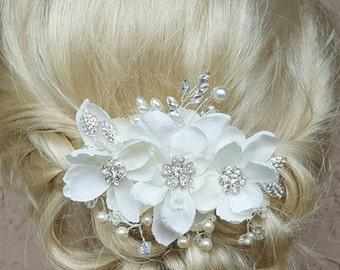 Braut Haarkamm, Hochzeit Kamm, dekorative Kamm, Hochzeit Kamm, Strass Brautkamm, Elfenbeinperlen, Strass Blätter, Kristalle