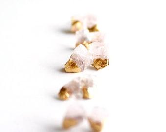 Rose quartz earrings - gemstone earrings - raw stone earrings - blush bridesmaid earrings - bridesmaid gift - rose gold
