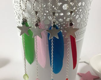 Star necklace, feather and rhinestone Red/Green/Pink/Blue