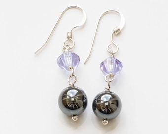 Haematite and Crystal Sterling Silver Earrings