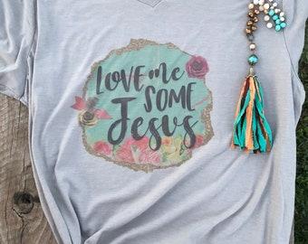 Love Me Some Jesus V-Neck Tee Shirt
