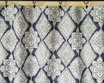 Vintage Indigo Milan Curtains. Pair of 2 Drapery Panels. Dark Navy Blue. Bedroom Window Treatments.