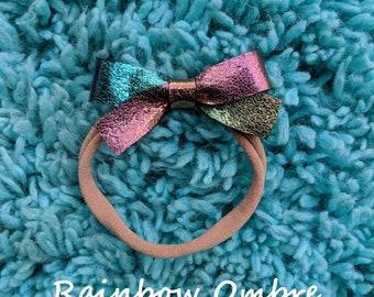 Rainbow Ombre Dainty Bow