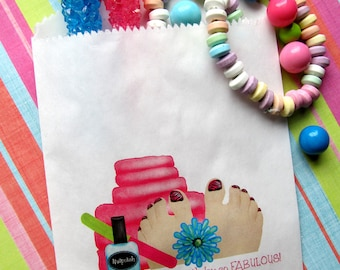 Spa Birthday Party, Spa favor bags, Spa candy bags, Spa party favors, spa favors, manicure, pedicure, candy bags, Birthday party, Treats