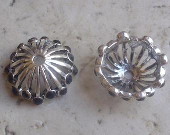 2 caps 21 x 8 mm silver - beads caps