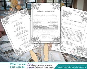 "DiY Printable Wedding Fan Program Template - Instant Download - EDITABLE TEXT - Silver Ornament frame  5""x7"" - Microsoft® Word Format HBC85"