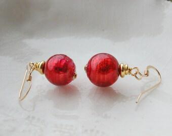 Red Murano Glass Dainty Earrings, 10mm Earrings