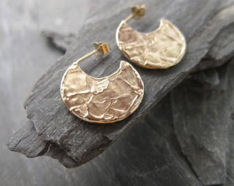 """Gold hoops earrings, gold plated bronze, """"Etania"""" made in France, handcrafted."""