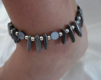 Beaded Shell Anklet with Silver Accents