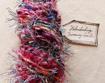 Rose Water pink painterly mix rainbow tinsel tassel twine Novelty Fiber Yarn Sampler Bundle