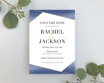 Wedding Save the Dates / Blue & Gold Modern Invitation Suite / Simple, Elegant, Geometric Invitation / #1162