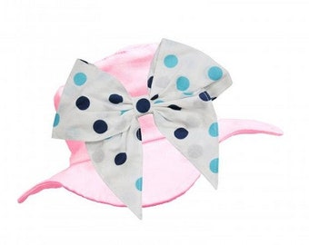 Baby Hats With Bow-Unique Baby and Toddler Hats-Sun Hats With Bow-Cute Baby Hat- Pale Pink Sun Hat With Poka Dot Bow-Baby Hats- Kids Hats