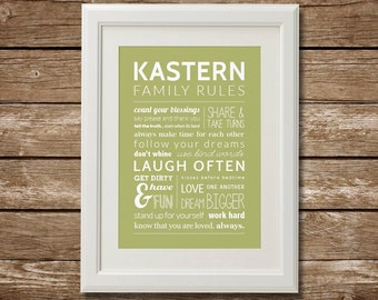 Custom Family Rules for Kids, Digital Download, Family with Kids, Last Minute Gift, Printable