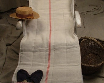 Natural Linen Beach Mat or Deck Chair Cover with Red Stripes