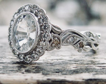 Natural White Sapphire with Clear and Champagne Diamonds in 14K White Gold Vine Engagement Ring Size 7