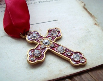 Red Enameled Cross Necklace With Rhinestones Christmas Holiday Jewelry Spiritual Gifts Under 20 Large Cross Jeweled pendant Necklace Costume