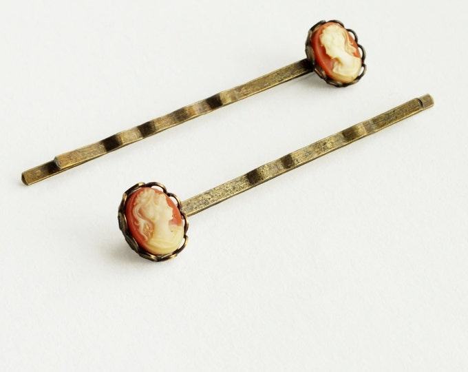 Small Cameo Hair Pins Vintage Coral Carnelian Resin Cameo Bobby Pins Victorian Hair Accessories Hairpins