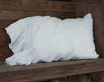 Pillowcase Ruffled Linen King Size Pillowcase