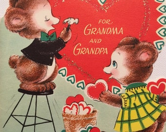 Vintage Valentines Day 1950's Glitter Grandma and Grandpa Bears